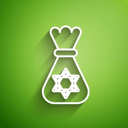 White line Jewish money bag with star of david icon isolated on green background. Currency symbol. Vector Illustration