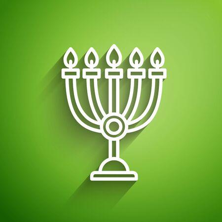 White line Hanukkah menorah icon isolated on green background. Hanukkah traditional symbol. Holiday religion, jewish festival of Lights.  Vector Illustration