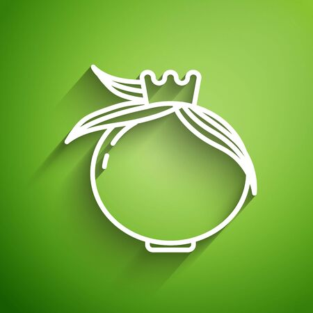 White line Pomegranate icon isolated on green background. Garnet fruit. Vector Illustration