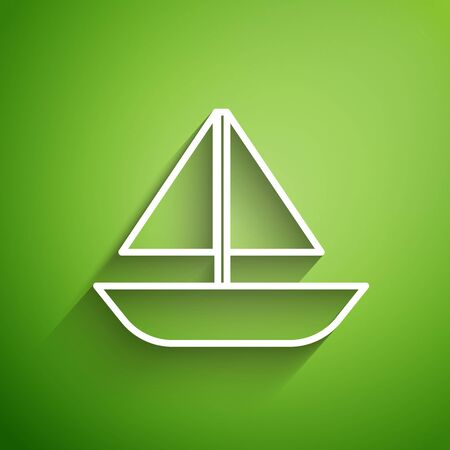White line Yacht sailboat or sailing ship icon isolated on green background. Sail boat marine cruise travel. Vector Illustration