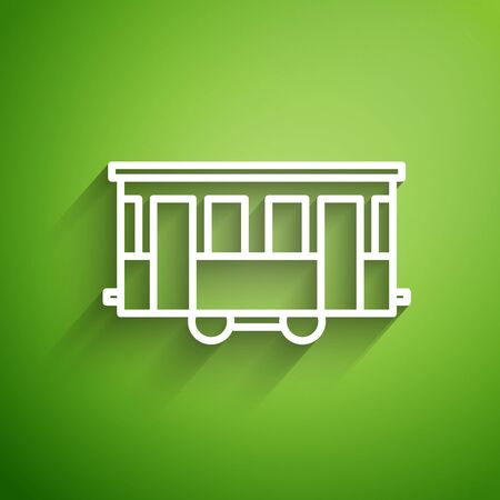 White line Old city tram icon isolated on green background. Public transportation symbol. Vector Illustration Stock Illustratie