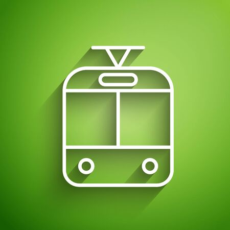 White line Tram and railway icon isolated on green background. Public transportation symbol. Vector Illustration Stock Illustratie