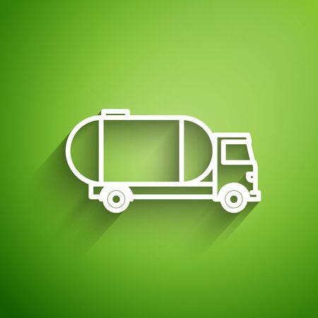 White line Tanker truck icon isolated on green background. Petroleum tanker, petrol truck, cistern, oil trailer. Vector Illustration Illusztráció