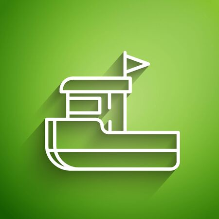 White line Fishing boat icon isolated on green background. Vector Illustration