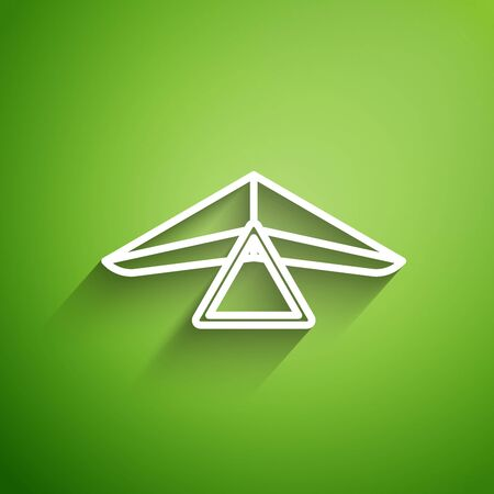 White line Hang glider icon isolated on green background. Extreme sport. Vector Illustration Vetores