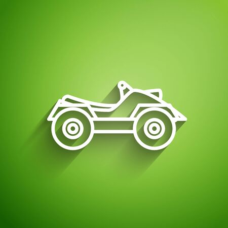 Línea blanca Vehículo todo terreno o icono de motocicleta ATV aislado sobre fondo verde. Cuatrimoto. Deporte extremo. Ilustración vectorial