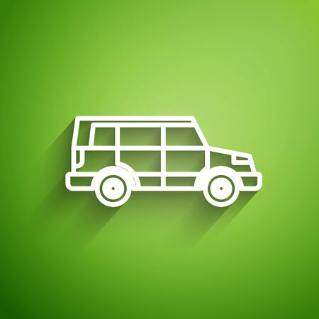 White line Off road car icon isolated on green background.