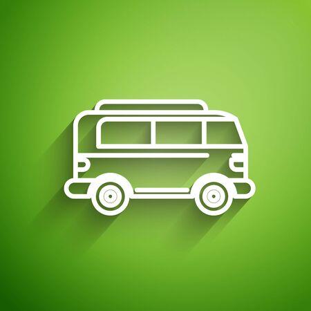 White line Retro minivan icon isolated on green background. Old retro classic traveling van. Vector Illustration Foto de archivo - 134821424