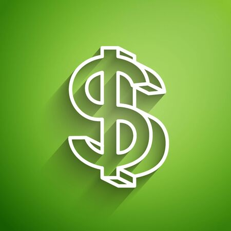 White line Dollar symbol icon isolated on green background. Cash and money, wealth, payment symbol. Casino gambling. Vector Illustration