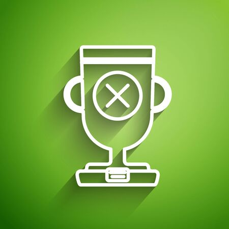 White line Award cup icon isolated on green background. Winner trophy symbol. Championship or competition trophy. Sports achievement sign. Vector Illustration