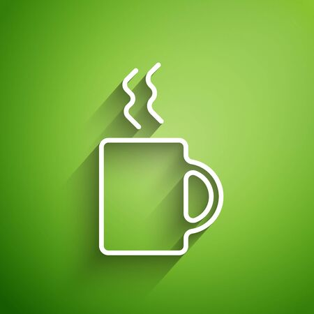 White line Coffee cup icon isolated on green background. Tea cup. Hot drink coffee.  Vector Illustration