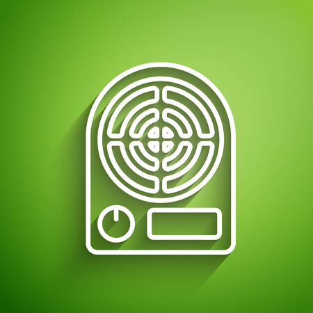 White line Electric heater icon isolated on green background. Infrared floor heater with remote control. House climate control. Vector Illustration