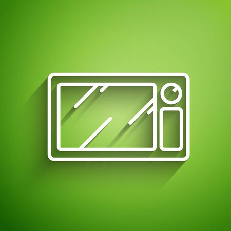 White line Microwave oven icon isolated on green background. Home appliances icon. Vector Illustration Ilustracja