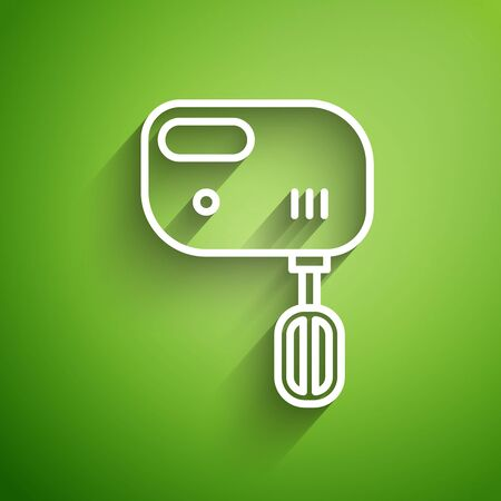 White line Electric mixer icon isolated on green background. Kitchen blender. Vector Illustration