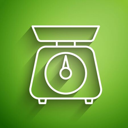 White line Scales icon isolated on green background. Weight measure equipment. Vector Illustration Illusztráció