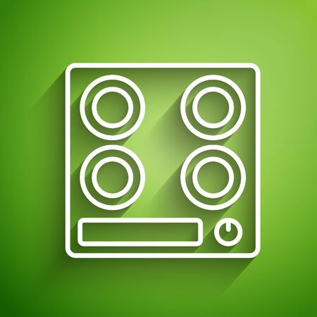 White line Gas stove icon isolated on green background. Cooktop sign. Hob with four circle burners. Vector Illustration Ilustracja