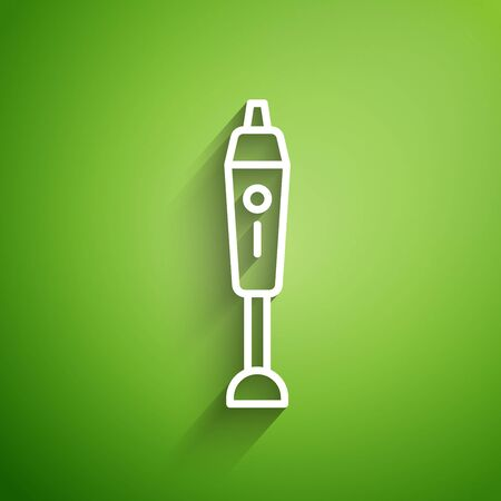 White line Blender icon isolated on green background. Kitchen electric stationary blender with bowl. Cooking smoothies, cocktail or juice. Vector Illustration 向量圖像