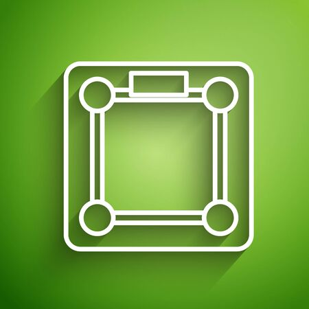 White line Bathroom scales icon isolated on green background. Weight measure Equipment. Weight Scale fitness sport concept. Vector Illustration