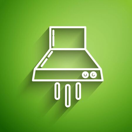 White line Kitchen extractor fan icon isolated on green background. Cooker hood. Kitchen exhaust. Household appliance. Vector Illustration