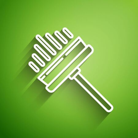 White line Cleaning service with of rubber cleaner for windows icon isolated on green background. Squeegee, scraper, wiper. Vector Illustration Ilustração