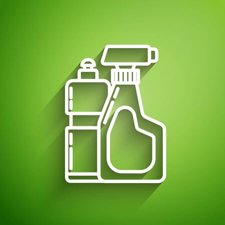 White line Plastic bottles for liquid laundry detergent, bleach, dishwashing liquid or another cleaning agent icon isolated on green background. Vector Illustration