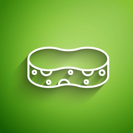 White line Sponge icon isolated on green background. Wisp of bast for washing dishes. Cleaning service concept. Vector Illustration Ilustracja