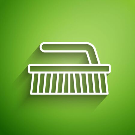 White line Brush for cleaning icon isolated on green background. Vector Illustration