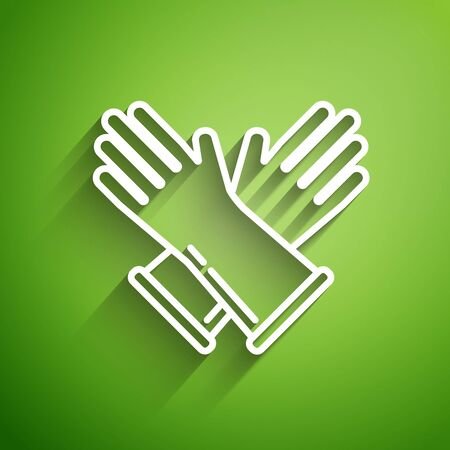 White line Rubber gloves icon isolated on green background. Latex hand protection sign. Housework cleaning equipment symbol. Vector Illustration
