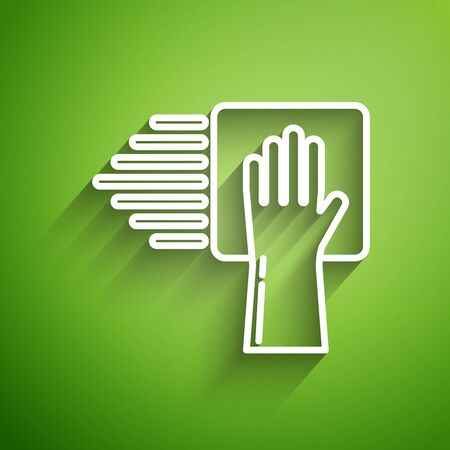 White line Cleaning service icon isolated on green background. Vector Illustration
