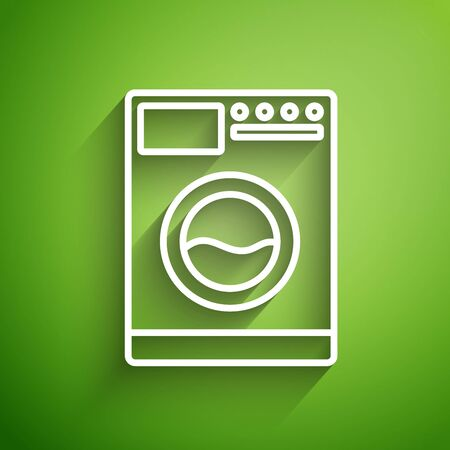 White line Washer icon isolated on green background. Washing machine icon. Clothes washer - laundry machine. Home appliance symbol. Vector Illustration