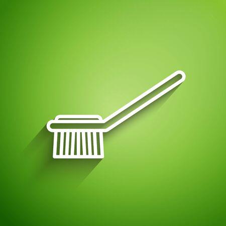 White line Toilet brush icon isolated on green background. Vector Illustration Ilustracja