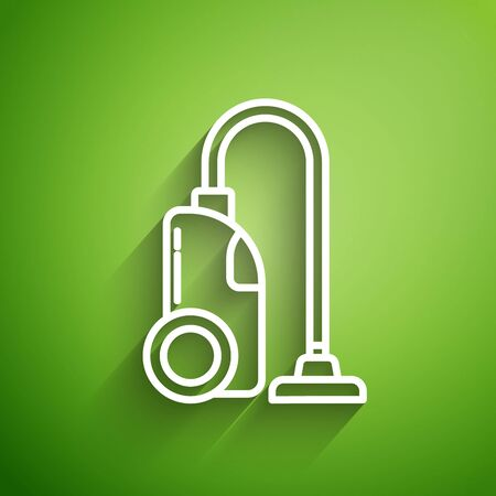White line Vacuum cleaner icon isolated on green background. Vector Illustration
