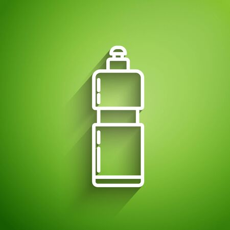White line Plastic bottle for liquid laundry detergent, bleach, dishwashing liquid or another cleaning agent icon isolated on green background. Vector Illustration Ilustracja