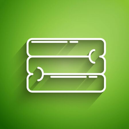 White line Towel stack icon isolated on green background. Vector Illustration