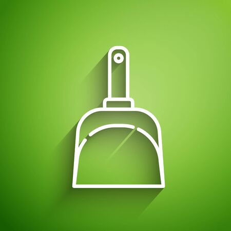 White line Dustpan icon isolated on green background. Cleaning scoop services. Vector Illustration