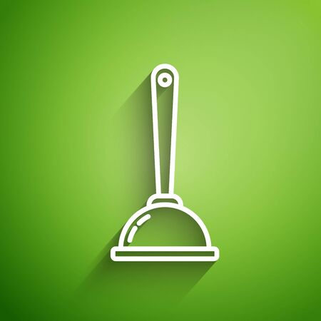 White line Rubber plunger with wooden handle for pipe cleaning icon isolated on green background. Toilet plunger. Vector Illustration