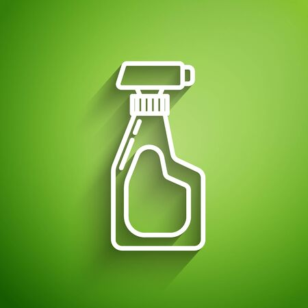 White line Cleaning spray bottle with detergent liquid icon isolated on green background. Vector Illustration