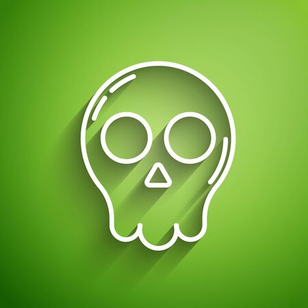 White line Skull icon isolated on green background. Happy Halloween party. Vector Illustration