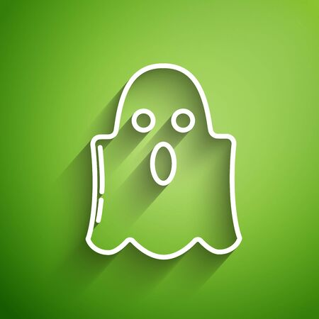 White line Ghost icon isolated on green background. Happy Halloween party. Vector Illustration