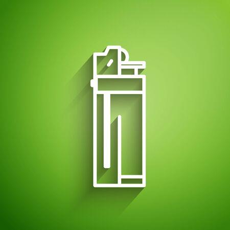 White line Lighter icon isolated on green background. Vector Illustration Illusztráció