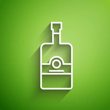 White line Whiskey bottle icon isolated on green background. Vector Illustration