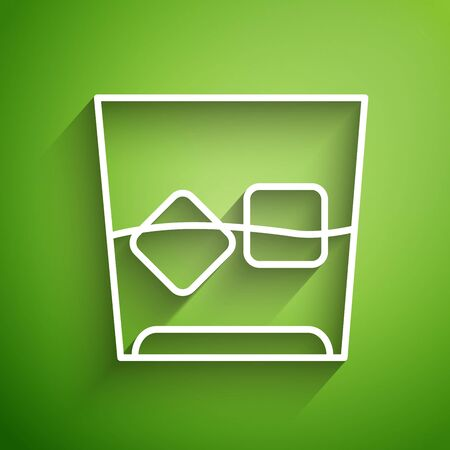 White line Glass of whiskey and ice cubes icon isolated on green background. Vector Illustration
