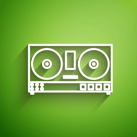 White line DJ remote for playing and mixing music icon isolated on green background. DJ mixer complete with vinyl player and remote control. Vector Illustration