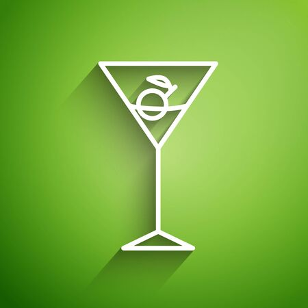 White line Martini glass icon isolated on green background. Cocktail icon. Wine glass icon. Vector Illustration