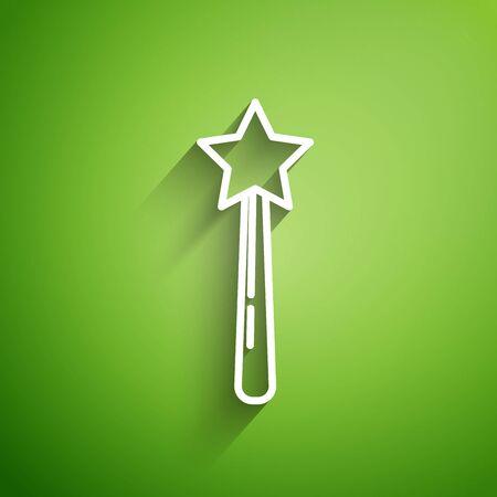 Icona di bacchetta magica linea bianca isolato su priorità bassa verde. Accessorio magico a forma di stella. Potere magico. illustrazione vettoriale