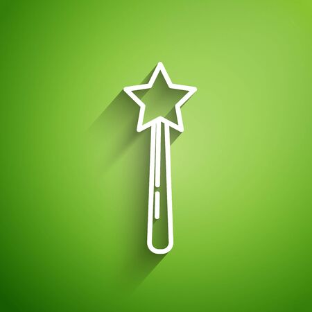 White line Magic wand icon isolated on green background. Star shape magic accessory. Magical power. Vector Illustration