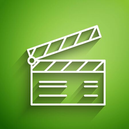 White line Movie clapper icon isolated on green background. Film clapper board. Clapperboard sign. Cinema production or media industry concept. Vector Illustration Foto de archivo - 134822495