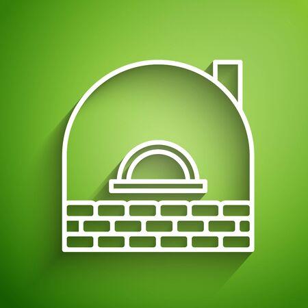 White line Brick stove icon isolated on green background. Brick fireplace, masonry stove, stone oven icon. Vector Illustration