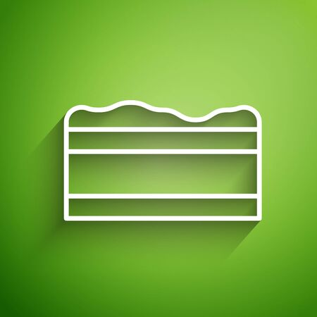 White line Brownie chocolate cake icon isolated on green background. Vector Illustration