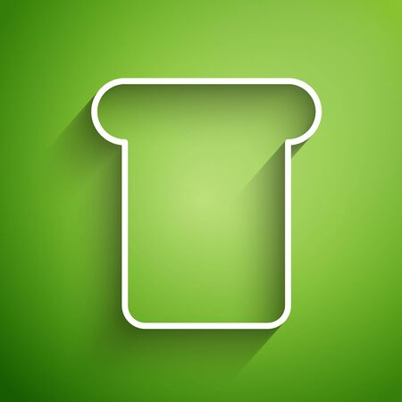 White line Bread toast for sandwich piece of roasted crouton icon isolated on green background. Lunch, dinner, breakfast snack. Vector Illustration Ilustracja